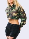 Fashion Women Camouflage Print Crop Hoodie
