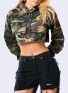 Mode-Frauen-Tarnungs-Druck-Ernte Hoodie
