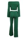 Dos piezas del hombro Crop Top Vendaje Bodycon Pantalones largos Slim Club trajes
