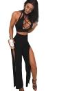 Conjunto de 2 piezas de cuello alto sin mangas Ahueca hacia fuera el maillot de Split Clubwear Romper alto