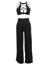 2 Piece Outfits Turtleneck Sleeveless A cavalgar High Split Clubwear Romper Jumpsuit