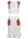 Conjunto de falda corta sin mangas para mujer Conjunto bordado floral con cordones Volantes delanteros volantes ocasionales Dos piezas