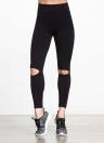 Sexy donna Yoga Pantaloni sportivi Leggings scava fuori allenamento Design Running Skinny Slim Fitness Calzamaglia nera