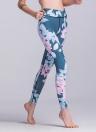 Mulheres Calças desportivas Contraste Folhas florais Imprimir Calças de fitness cintura de treino casual cintura alta
