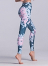 Women Sport Leggings Contrast Floral Leaves Print High Waist Casual Skinny Workout Fitness Pants