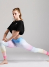 Mujeres Gym Leggings Colorful Gradient Rainbow Print cintura alta Casual Skinny Sport Yoga Pants