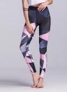 Femmes Sports Pantalon Color Block Taille Haute Running Collants Gym Fitness Workout Skinny Leggings