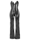 Sexy Women Strapless Jumpsuit Bandeau Neck Sleeveless Stripe Playsuit Overalls Rompers Long Pants