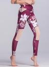 Sexy Women Slim Flora Print Leggings Sport Yoga Mesh Splice Skinny Pencil Pants Trousers