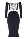 Shoulder Lace Up Back Long Sleeve Backless Crop Top Bodycon Lápis Conjunto de saia