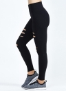 Women Sport Yoga Leggings Ripped Frayed Holes  Running Bodycon Pants
