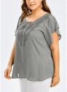 Women Plus Size Solid Blouse  V Neck Crochet Lace Shirt Top
