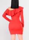 Sexy Women Bodycon Mini Dress Choker Neck Long Sleeves One Shoulder Ruffle Overlay Party Bandage Dress