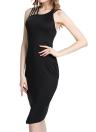 New Sexy Women Cross Back Sleeveless O Neck Bodycon Midi Dress