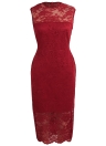 Sexy Women Floral Lace Sleeveless Bodycon Dress O Neck Evening Party Club Bandage Midi Dress