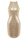Sexy Femmes Sequin Sans Manches Halter Bling Glitter Slim Parti Mini Dress