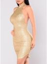 Sexy Women Sequin Sleeveless Halter Bling Glitter Slim Party Mini Dress