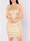 Sexy Femmes Sequin Sans Manches Halter Bling Glitter Slim Parti Mini Dress