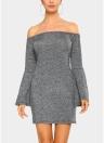 Élégante Femmes Mini Robe moulante Slash Neck Long Flare Manches Couleur unie Robe de soirée