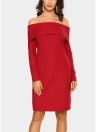 Elegant Women Bodycon Mini Dress Overlay Slash Neck Long Sleeve Solid Color Party Dress