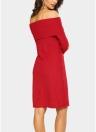 Элегантные женщины Bodycon Mini Dress Overlay Slash Neck Long Sleeve Solid Color Party Dress