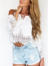 Women Crop Top Cold Shoulder Crochet Lace Blouse Casual Top