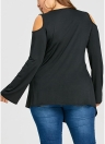 Women Plus Size T-Shirt  Lace Up Cold Shoulder Casual Shirt Top