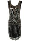 Sexy Women 1920s Sparkling O Neck Sleeveless Backless Bodycon Sequin Dress
