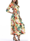 Bohemian Floral Print V Neck Half Sleeve Bohemian Maxi Dress