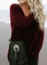 Women Sweatshirt Warm Fleece Casual Top V-Neck Loose T-Shirt Jumper Top