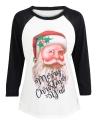 Fashion Women Christmas Plus Size  T-Shirt  3/4 Sleeve Casual Tees Tops