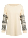 T-shirt manica lunga con stampa geometrica a manica lunga O-Neck donna