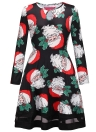Fashion Women Christmas Santa Claus Printed Long Sleeve Dress