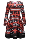 Fashion Women Christmas Santa Claus Printed Long Sleeve Dress