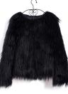Faux Fur Coat Luva longa Mullido Casaco curto Casaco curto Hairy Warm Overcoat