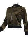 Blouson Bomber Velet côtelé Stand Collar Casual Club Party Wear Baseball Manteau