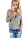 Suéter de manga larga de punto de encaje choker