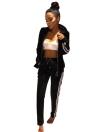 Hooded Hoodie Pants Zipper Elastic Waist Casual Sportswear Top Trousers