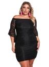 Robe en dentelle Plus Size épaule Mini Bodycon Dress Oversize Party Clubwear