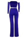 Fuera del hombro con cordones en la parte posterior de manga larga Piernas anchas Party Club Suit Crop Top + Pants
