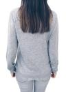 Cuello en V Manga Larga Cordón Empalme Botón Suelto Abrigo Fino Abrigo Cálido Sólido