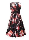 Women Christmas Santa Claus Printed Sleeveless Dress