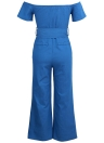 Off Shoulder Wide Leg Zipper Front Belted High Waist Playsuit Rompers Denim Jeans