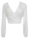Sexy Blouse Long Sleeves V-Neck Bandage Solid Casual Elegant Crop Top Shirt