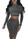 Sexy Frauen Zweiteiliges Set Kleid Minirock Nachtclub Party Bodycon Bleistiftrock