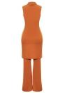 Sexy Long Gilet V-Neck Flare Pantalons Casual Manteau Pantalon Set Solid Outfit Survêtement