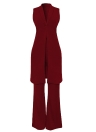 Sexy Long Vest V-Neck Flare Pants Casual Coat Trousers Set Solid Outfit Outerwear