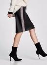 Women PU Leather Skirts Houndstooth Side Fleece Sheath Pencil Skirt