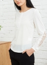 Casual Women Crochet Lace Splicing Hollow Solid T-Shirt