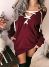 Sexy Women Off the Shoulder Lace-up manga comprida Deep V Neck Hoodie